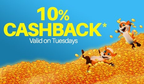 10% Cashback jackpot casino bonus